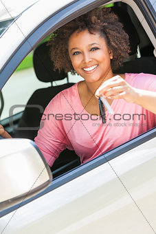 African American Girl Young Woman Driving Car Holding Key