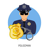 Policeman Icon with Badge