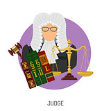 Judge Icon with Scales and Gavel