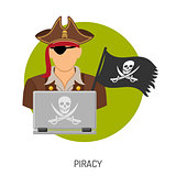 Piracy Concept with Pirate Icon