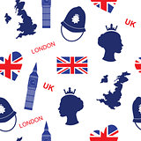 Seamless pattern background with London landmarks and Britain symbols vector illustration. English background with map queen and flag