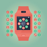 Smart watch vector illustration. Mobile gadget