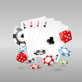 Gambling and casino symbols - poker chips, playing cards and dic