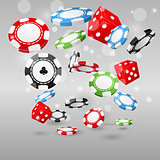 Gambling and casino symbols - flying poker chips and dice