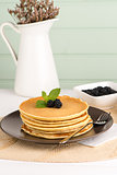 Pancakes with fresh blackberries