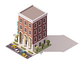 Vector isometric hostel building
