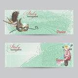 Set of horizontal banners of Italy. Cities of Rome and Venice with a mask and a pink moped