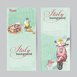 Set of verticall banners of Italy. Cities of Rome and Pisa with the image of a pink moped, pizza, cheese and oil cans