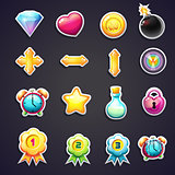 Set of cartoon icons for the user interface of computer games