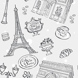 Seamless texture in black outline with the image of the Eiffel Tower, France, and other items