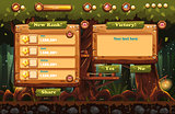 Illustration of the fairy forest at night with flashlights and examples of screens, buttons, bars progression for computer games and web design. Set 3.