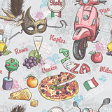 Seamless texture on italy. With a picture of food, fruit, wine, carnival masks
