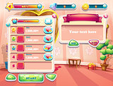 An example of one of the screens of the computer game with a loading background bedroom princess, user interface and various element. Set 2