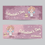 Set of horizontal greeting cards for Valentine's Day