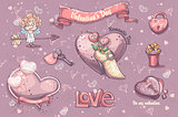 Set of festive elements and illustrations for Valentine's Day