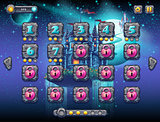 Illustration fabulous space with cheerful planets with the example screen levels