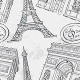 Seamless texture with the Eiffel Tower