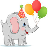 Birthday elephant with balloons