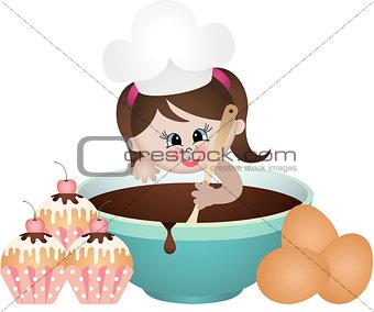 Little girl baking cupcakes