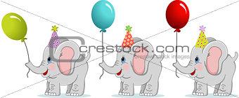 Three Birthday elephants with balloons