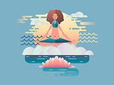 Woman meditation design flat