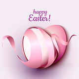 Happy Easter greeting card template with eggs and ribbon