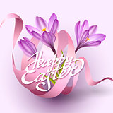 Happy Easter greeting card template with flowers and ribbon