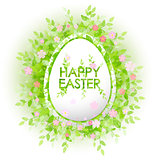 Vector card Happy Easter. Floral frame with leaves