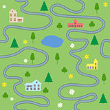 Cartoon map seamless pattern with houses and roads. Vector colorful background
