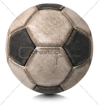 Old Soccer Ball Isolated on White