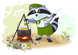 Scout raccoon cooking soup over campfire. Summer holidays camping