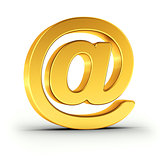 The Email symbol as a polished golden object with clipping path