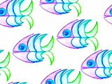 Vector Seamless Pattern Watercolor Hand Drawn Funky Fishes
