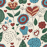 Vector Seamless Valentine's Day Floral Pattern