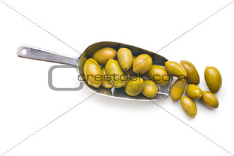 green olives in scoop