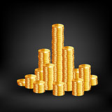 Coins on black background. Vector
