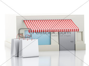 3d Store with shopping bags.