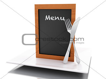 3d Menu board with plate, fork and knife.