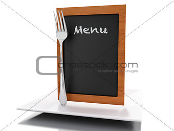 3d Menu board with plate and fork