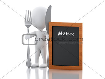 3d white people Chef with Menu board, fork and knife.