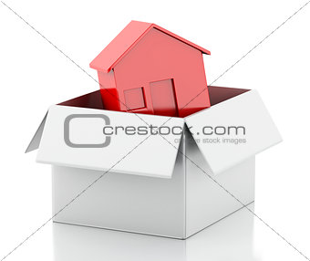 3d New house in white box.