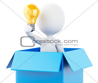 3d  White people with light bulb in box. Thinking concept.