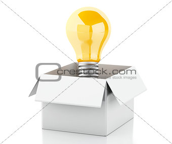3d Light bulb in white box. Thinking concept.