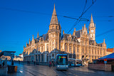 Former post office and tram in Ghent, Belgium