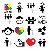 Autism awareness puzzles, autistic children icons