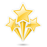 Golden stars on sticks - symbolic fireworks icon