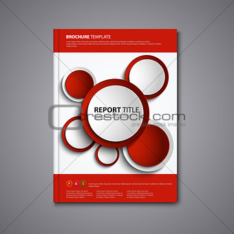 Brochures book or flyer with abstract red circles template