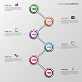 Time line info graphic with colorful design pointers template