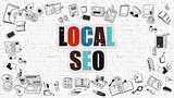 Local SEO Concept with Doodle Design Icons.
