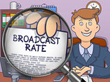 Broadcast Rate through Lens. Doodle Concept.